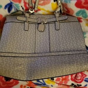Guess gray and silver shoulder purse